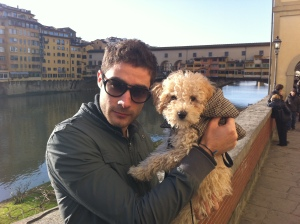 Demon puppy, Francesco and the famous Ponte Vecchio bridge in the background.