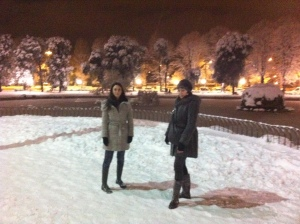 Very rarely it snows here. A park near Statuto in Florence. That's ME and my Russian Princess.