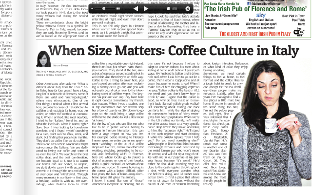 Coffee and Culture. My recent article in The Florence Newspaper.