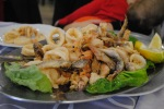 Whole Shrimp (in the shell), Calamari, fried.