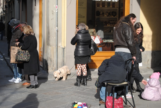 Random Chic With Dog In Florence.