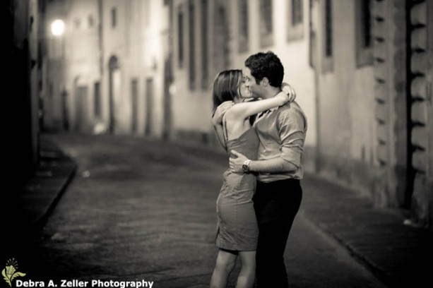 Couple kissing in Florence
